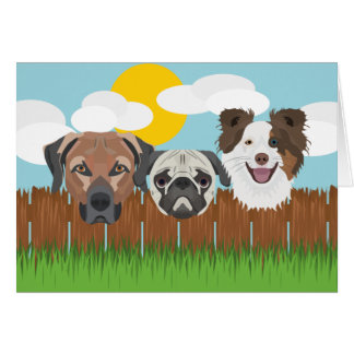 Cartão Cães afortunados da ilustração em uma cerca de