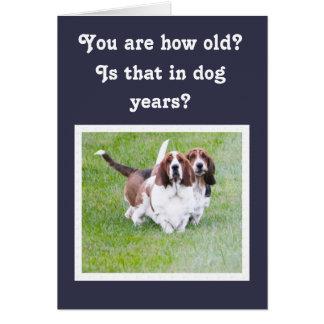 Cartão Cães & balões engraçados de Basset do aniversário