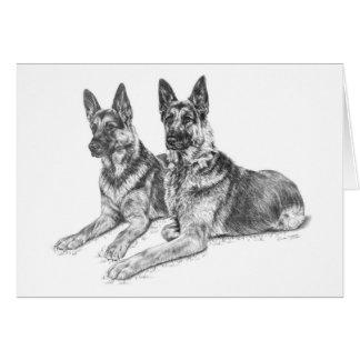 Cartão Cães de german shepherd que tiram pela cisne de