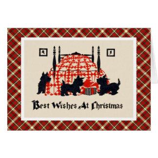 Cartão Cães de Terrier do natal vintage