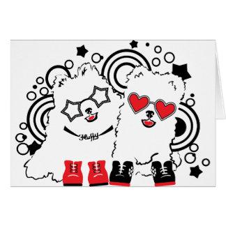 Cartão Cães engraçados. Festivos animais bonitos