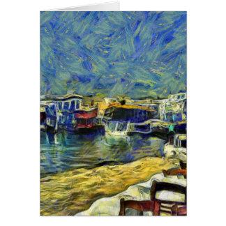 Cartão Café do porto na piscina KPA de Mykonos