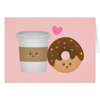 Cartão Café e rosquinha de Kawaii no amor, par perfeito