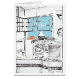 Cartão Café em algum lugar em Atenas