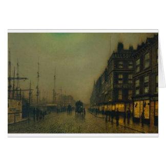 Cartão Cais de Liverpool pelo luar por John Atkinson