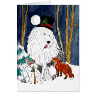 Cartão Caixa de história inglês velho do Natal do