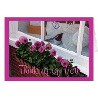 Cartão Caixa de janela branca do chapéu das dálias