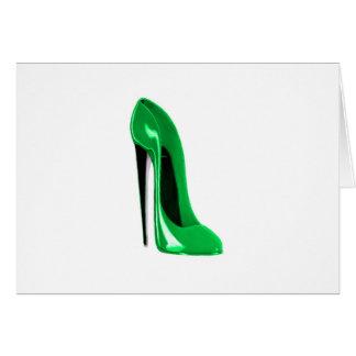Cartão Calçados do estilete do verde esmeralda