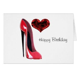 Cartão Calçados do estilete e coração 3D vermelhos