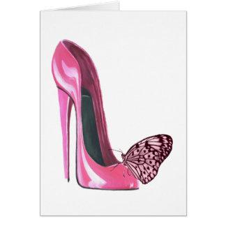 Cartão Calçados e borboleta cor-de-rosa do estilete