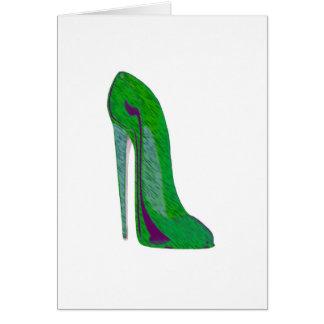 Cartão Calçados roxos e verdes do pop art do estilete
