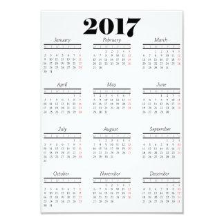 Cartão Calendário do branco 2017