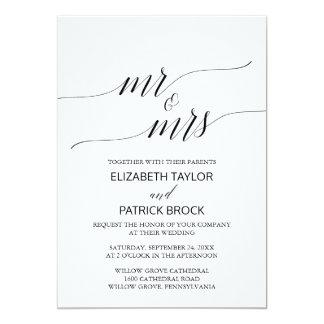 """Cartão Caligrafia preta branca elegante """"Sr. & Sra."""""""