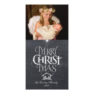 Cartão Caligrafia religiosa do giz do Feliz Natal