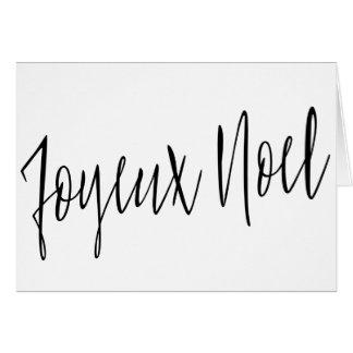 "Cartão Caligrafia simples bonita ""Joyeux Noel """