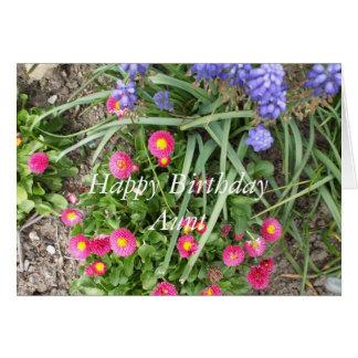 Cartão Cama da Aniversário-flor da tia