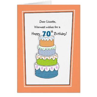 Cartão Camadas de 70 dos desejos ou de algum aniversário