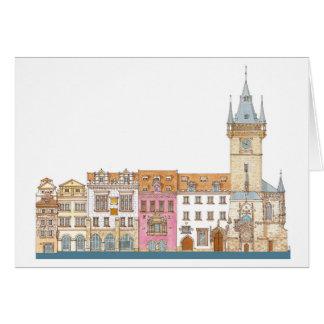 Cartão Câmara municipal velha. Praga Checo