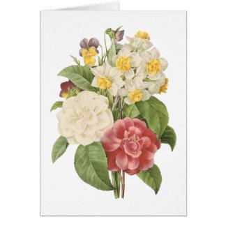 Cartão camélia, narciso, amor perfeito por Redouté