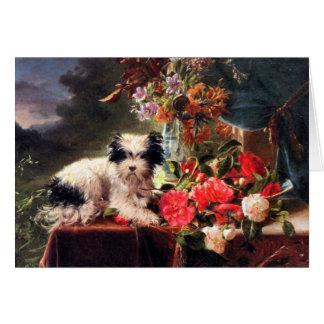 Cartão Camélias e Terrier