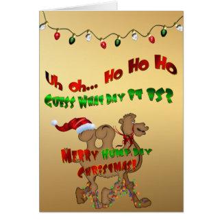 Cartão Camelo alegre do Natal do dia de corcunda HO HO HO