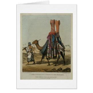 Cartão Camelo que transporta uma noiva a seu marido, b