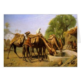 """Cartão """"Camelos na calha"""", por Jean Leon Gerome"""