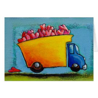 Cartão Camião basculante dos NAMORADOS da arte feliz do