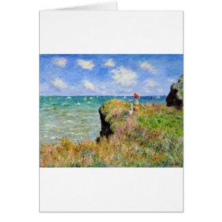 Cartão Caminhada de Clifftop em Pourville - Claude Monet