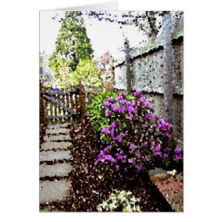 Cartão Caminhada do jardim no primavera