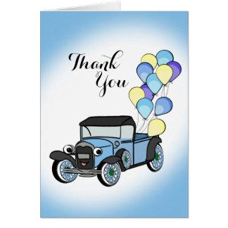 Cartão Caminhão antigo com obrigado dos balões você