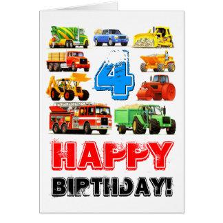 Cartão Caminhão da construção do aniversário do costume