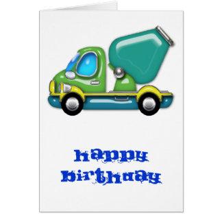 Cartão Caminhão do cimento no verde azul e no amarelo