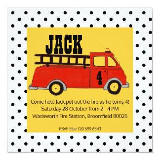 Cartão Caminhão do vermelho do quartel dos bombeiros do