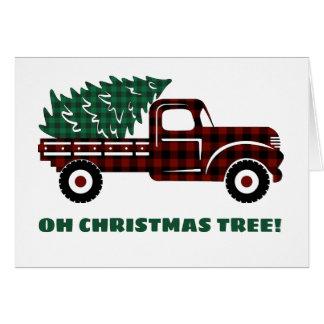Cartão Caminhão vermelho e verde EDITÁVEL da árvore de