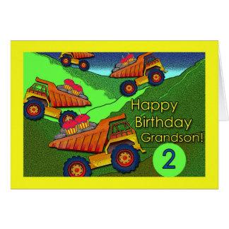 Cartão Camiões basculantes com cupcakes, aniversário para