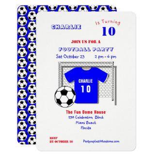 Cartão Camisa azul do futebol do partido do futebol