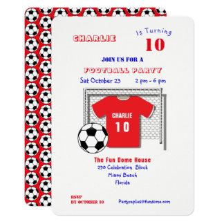 Cartão Camisa vermelha do futebol do partido do futebol