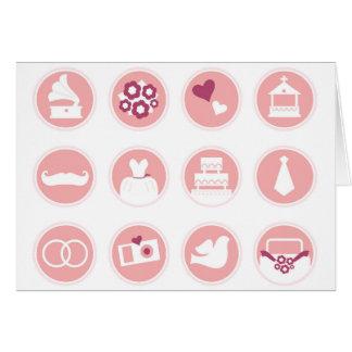 Cartão Camiseta com ícones do casamento