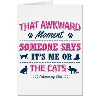 Cartão Camiseta do amante do gato