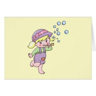 Cartão Camiseta e presentes de sopro das bolhas da menina