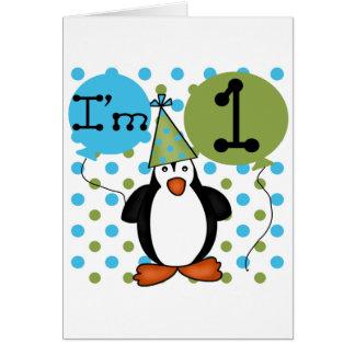 Cartão Camiseta e presentes do aniversário do pinguim