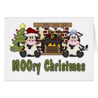 Cartão Camisetas do Natal da vaca de MOOORY Chirstmas,