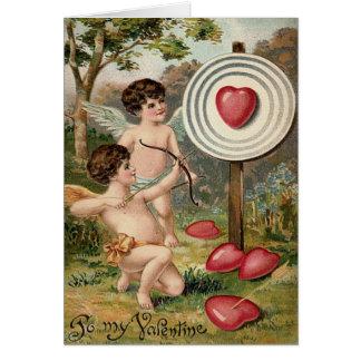 Cartão Campo do alvo da seta do arco do coração do Cupido