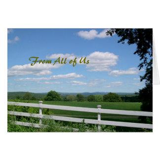 Cartão, campo e cerca da apreciação do pastor cartão comemorativo