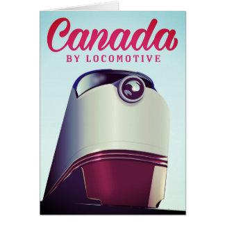 Cartão Canadá pelo poster locomotivo do trem dos anos 50
