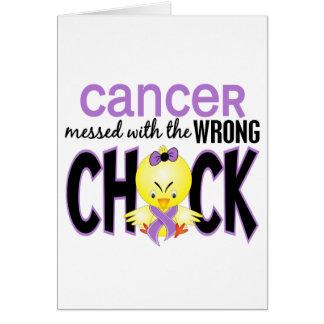 Cartão Cancer sujado com o pintinho errado