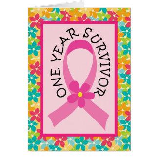 Cartão Cancro da mama fita do rosa do sobrevivente de 1