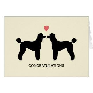 Cartão Caniches padrão pretas que Wedding Congrats