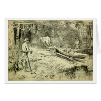 Cartão Canoing nas madeiras nortes